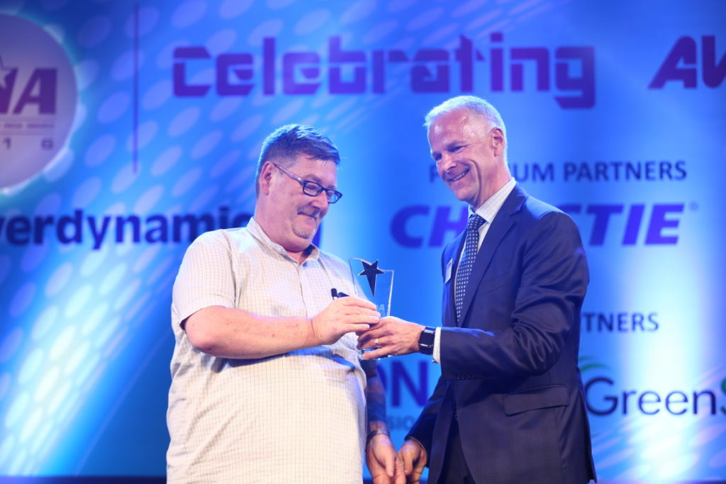 Kelvin Ashby-King, Managing Director of T2 Consulting receiving his Lifetime Achievement Award for 'The Most Distinguished Professional in AV and Lighting Design in India'